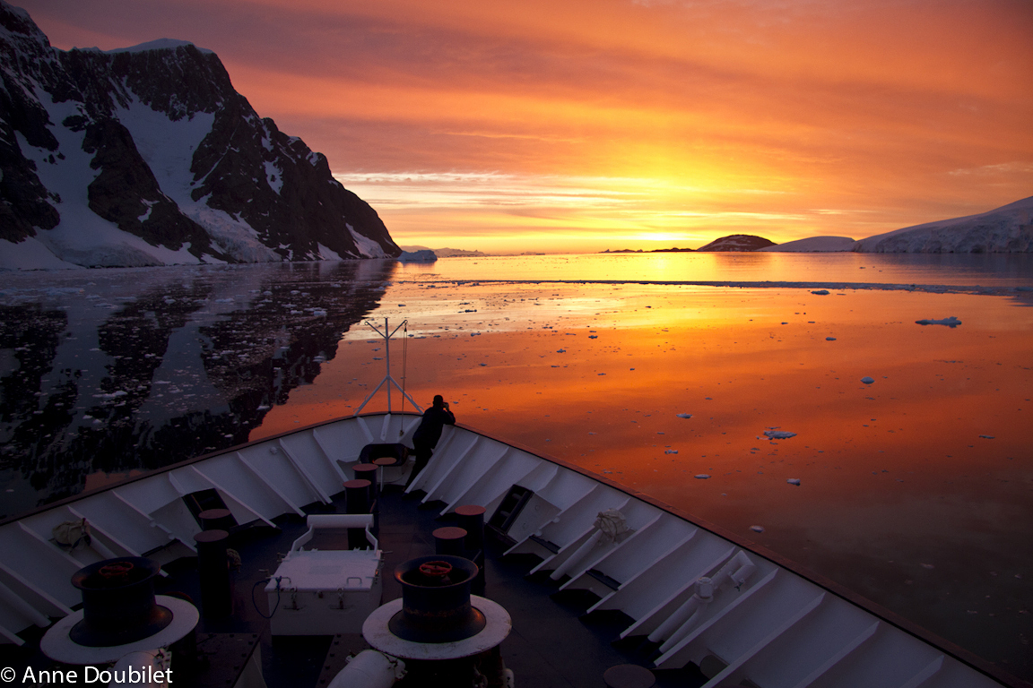 Sunset in La Maire Channel, Antarctica.