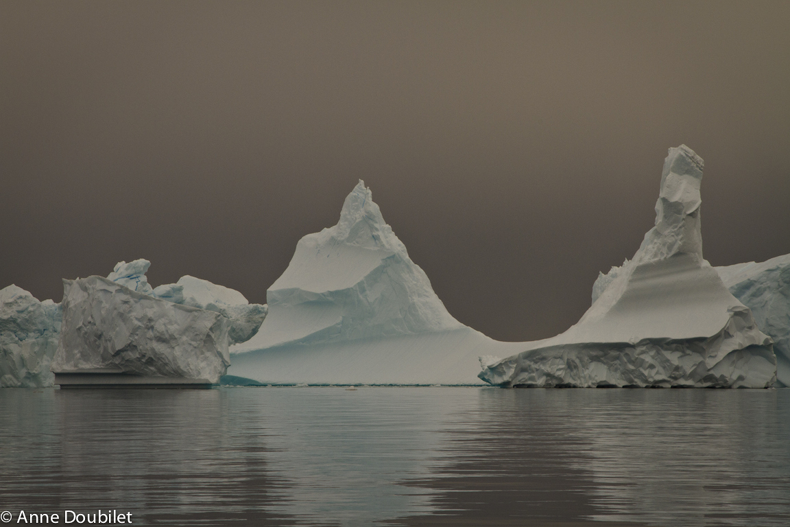 Icebergs in Iceberg Alley, Pleneau Bay, Antarctica.