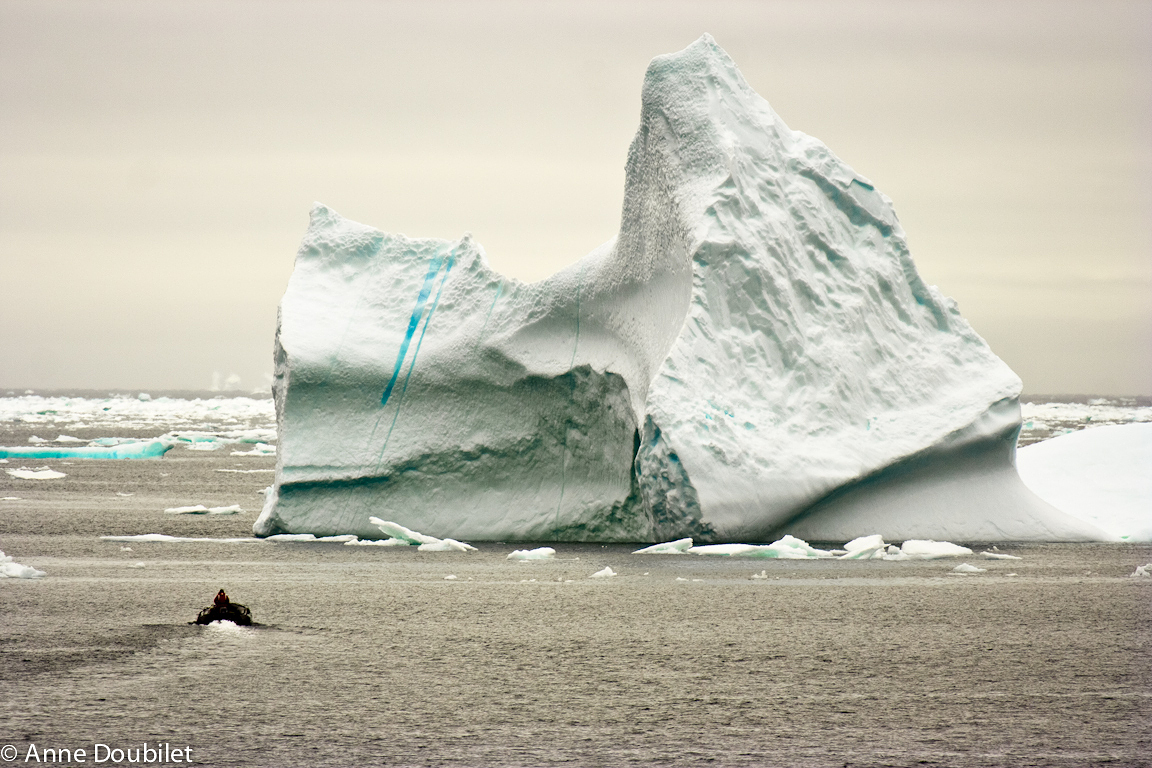 Iceberg and boat, Hoare Bay, Arctic.